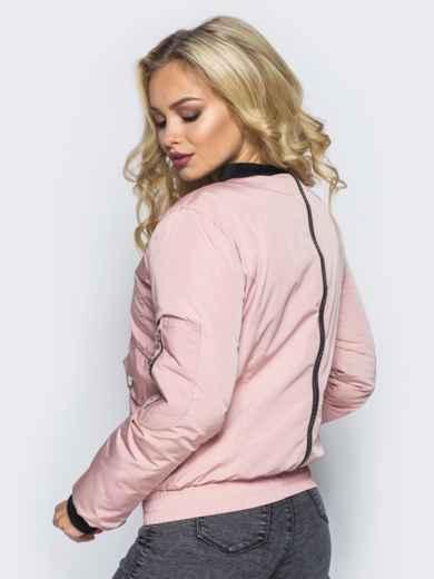 Куртка-бомбер розового цвета с регулируемым поясом-резинкой - 16692, фото 3 – интернет-магазин Dressa