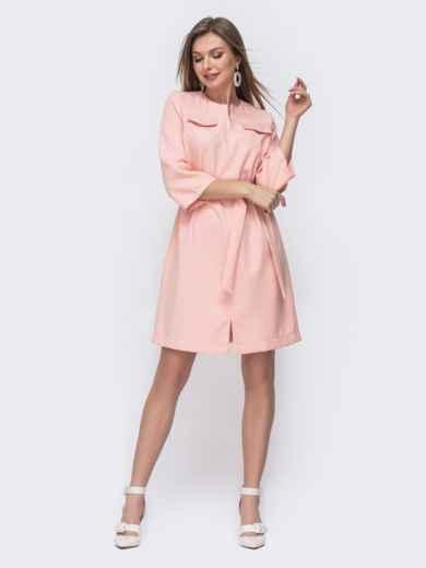 Платье прямого кроя с разрезом спереди пудровое 45547, фото 1