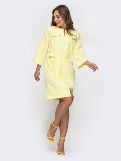 Платье прямого кроя с разрезом спереди желтое 45546, фото 1