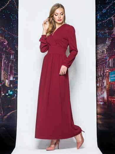 Платье с широким поясом и ложным запахом бордовое - 18119, фото 1 – интернет-магазин Dressa