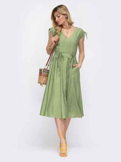 Платье с вафельной резинкой по талии зеленое 48069, фото 1