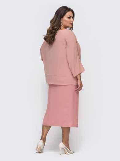 Пудровое платье батал приталенного кроя с шифоновой накидкой 50857, фото 2