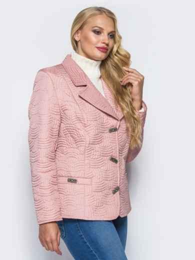 Розовая куртка на пуговицах с прорезными карманами - 16765, фото 2 – интернет-магазин Dressa