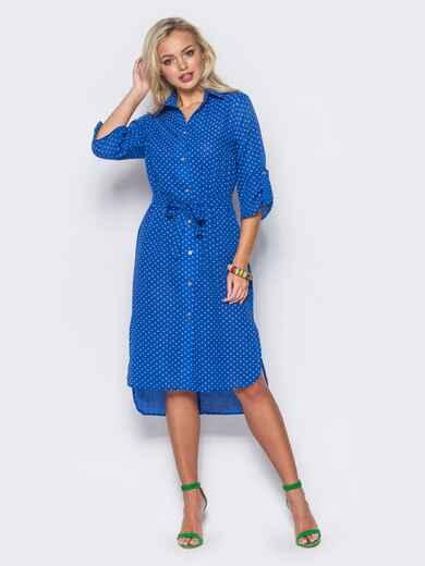 Синее платье-рубашка с рукавами 3/4 и шлевками на них - 11409, фото 1 – интернет-магазин Dressa