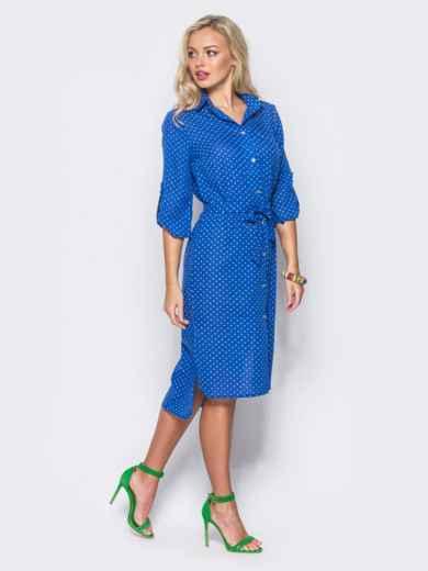 Синее платье-рубашка с рукавами 3/4 и шлевками на них - 11409, фото 2 – интернет-магазин Dressa