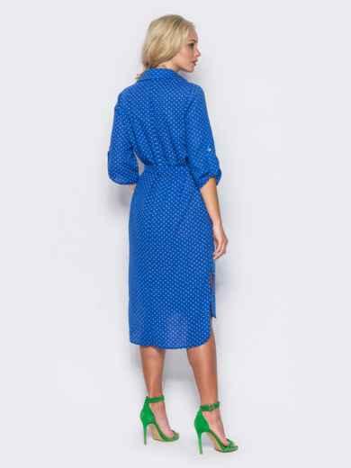 Синее платье-рубашка с рукавами 3/4 и шлевками на них - 11409, фото 3 – интернет-магазин Dressa