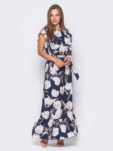 Темно-синее платье в цветочный принт с рюшами и оборкой по низу - 11406, фото 1 – интернет-магазин Dressa