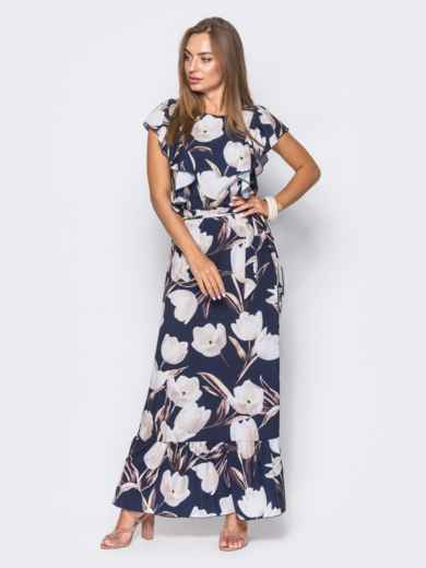 Темно-синее платье в цветочный принт с рюшами и оборкой по низу - 11406, фото 2 – интернет-магазин Dressa
