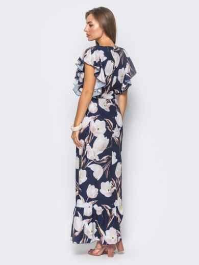 Темно-синее платье в цветочный принт с рюшами и оборкой по низу - 11406, фото 3 – интернет-магазин Dressa