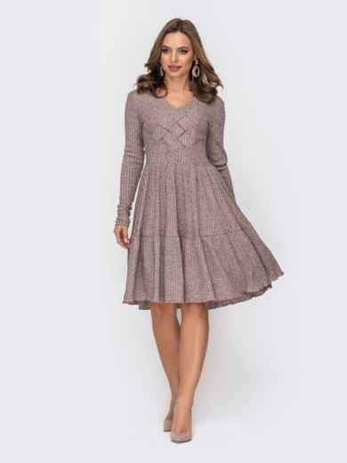 Трикотажное платье в полоску с люрексом бежевое 52326, фото 1