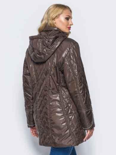 Удлиненная куртка с регулируемым капюшоном и карманами коричневая - 16761, фото 2 – интернет-магазин Dressa