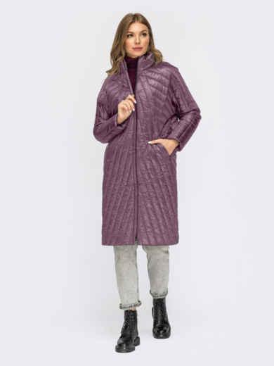Розовая стеганая зимняя куртка с воротником-стойкой 55541, фото 1