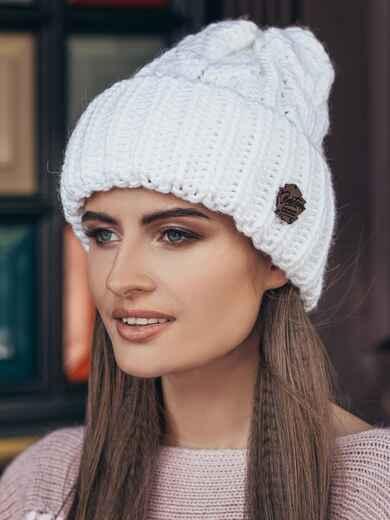 Белая шапка-колпак объемной вязки 14969, фото 1