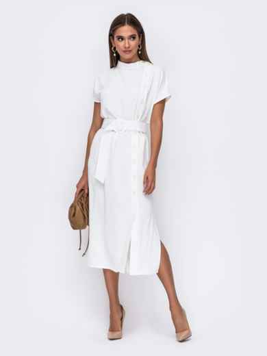 Белое платье с цельнокроеным рукавом и воротником-стойкой 50114, фото 1