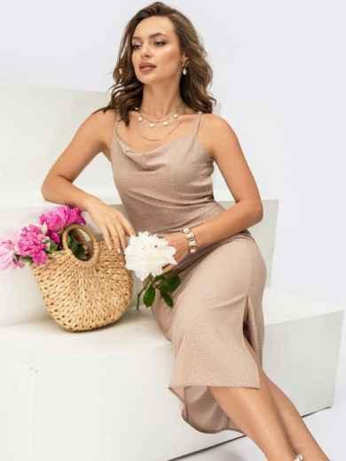 Бежевое платье-комбинация в горох с разрезом на юбке 54312, фото 1