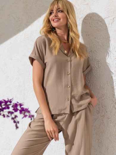 Блузка из жатой льняной ткани с цельнокроеным рукавом бежевая 49095, фото 2