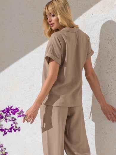 Блузка из жатой льняной ткани с цельнокроеным рукавом бежевая 49095, фото 3