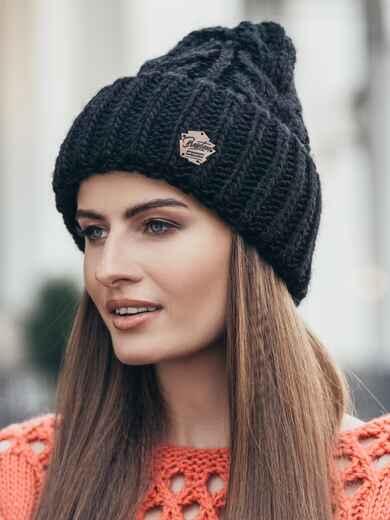 Черная шапка-колпак объемной вязки 14972, фото 1