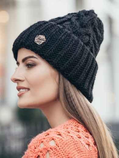 Черная шапка-колпак объемной вязки - 14972, фото 2 – интернет-магазин Dressa