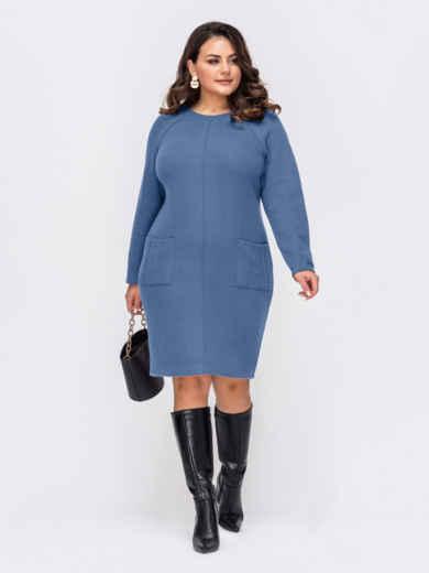 Голубое платье батал с рельефной прострочкой и карманами 52930, фото 1