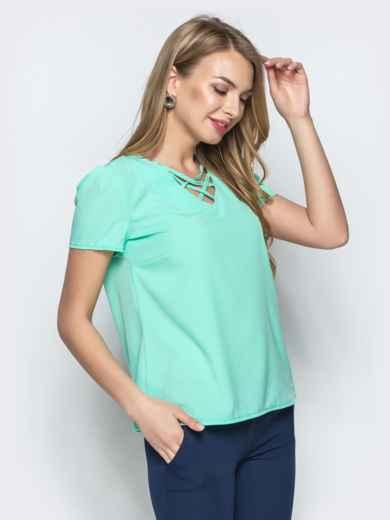 Монохромная блузка с плетением по горловине мятная - 21560, фото 2 – интернет-магазин Dressa