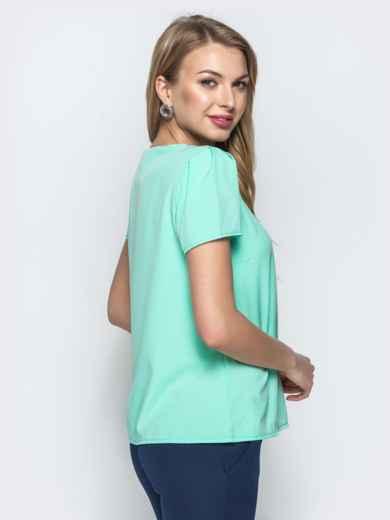 Монохромная блузка с плетением по горловине мятная - 21560, фото 3 – интернет-магазин Dressa