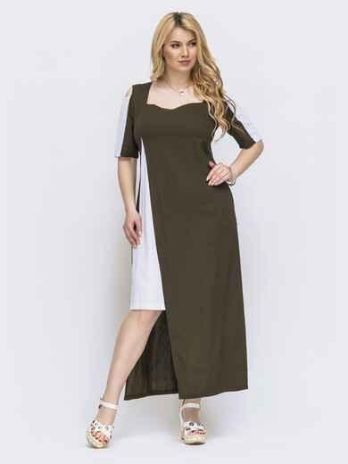 Платье свободного кроя цвета хаки батал 46156, фото 1