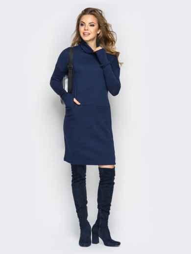 Платье свободного кроя с длинным рукавом синее - 13573, фото 2 – интернет-магазин Dressa