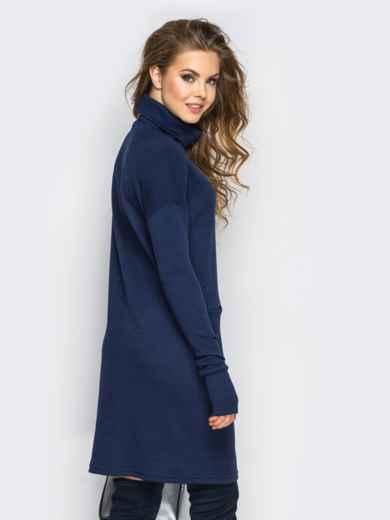 Платье свободного кроя с длинным рукавом синее - 13573, фото 3 – интернет-магазин Dressa