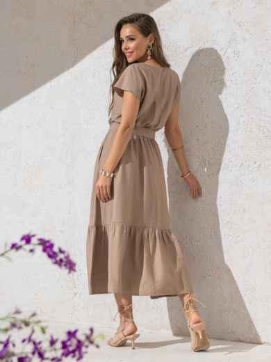 Расклешенное платье бежевого цвета с воланом по низу - 49369, фото 2 – интернет-магазин Dressa