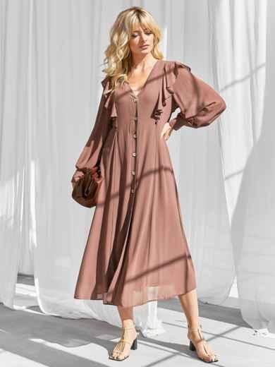 Романтичное платье-миди приталенного силуэта коричневого цвета 50113, фото 3