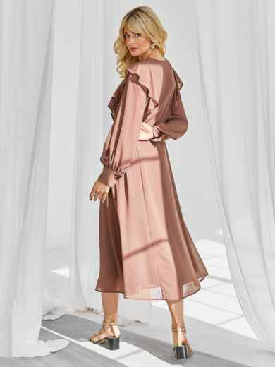 Романтичное платье-миди приталенного силуэта коричневого цвета 50113, фото 4