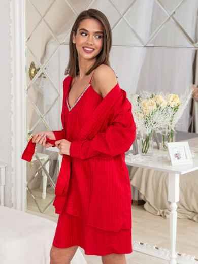 86e6c46b5 Сатиновый комплект из халата и сорочки красный - 20471, фото 2 –  интернет-магазин
