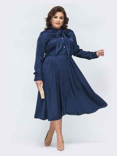 Шелковое платье батал с воротником-аскот тёмно-синее 45395, фото 1