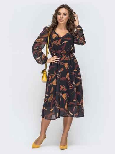 Шифоновое платье с принтом черное - 45067, фото 2 – интернет-магазин Dressa