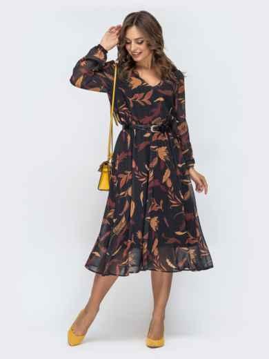 Шифоновое платье с принтом черное - 45067, фото 3 – интернет-магазин Dressa