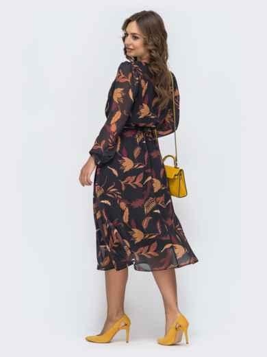 Шифоновое платье с принтом черное - 45067, фото 4 – интернет-магазин Dressa