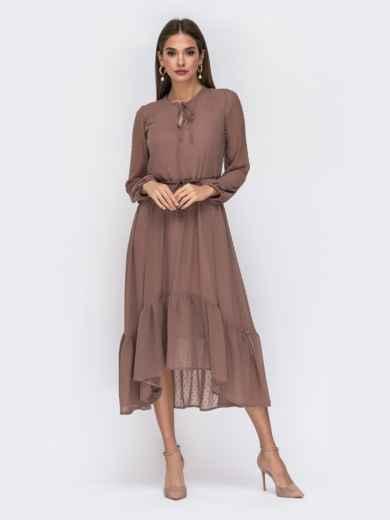 Шифоновое платье в мелкий горох с воротником-аскот бежевое - 42226, фото 2 – интернет-магазин Dressa