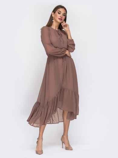Шифоновое платье в мелкий горох с воротником-аскот бежевое - 42226, фото 3 – интернет-магазин Dressa