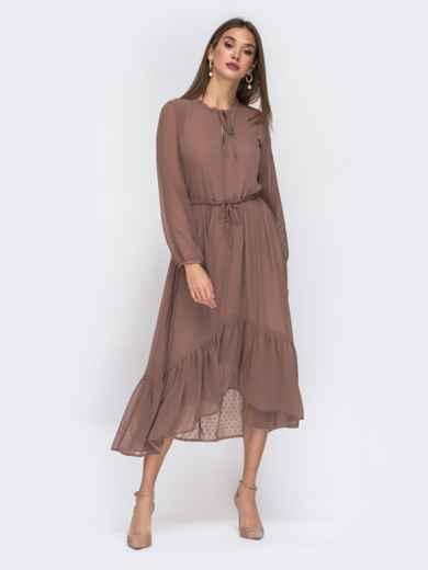 Шифоновое платье в мелкий горох с воротником-аскот бежевое - 42226, фото 4 – интернет-магазин Dressa