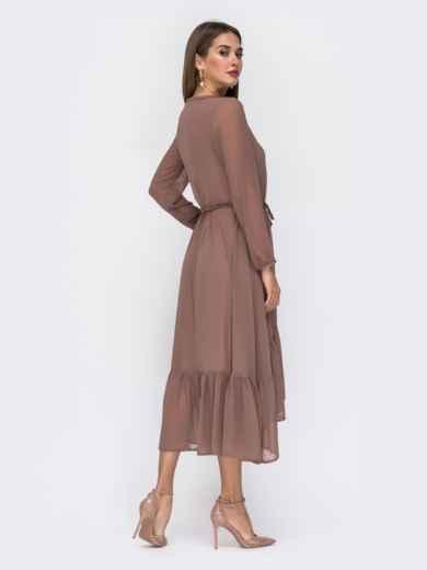 Шифоновое платье в мелкий горох с воротником-аскот бежевое - 42226, фото 5 – интернет-магазин Dressa