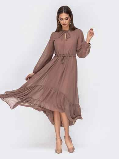 Шифоновое платье в мелкий горох с воротником-аскот коричневое 42226, фото 1