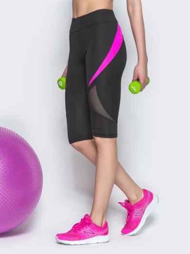 Спортивные бриджи с сеткой и малиновыми вставками чёрные - 38793, фото 2 – интернет-магазин Dressa