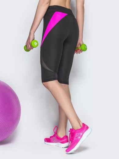 Спортивные бриджи с сеткой и малиновыми вставками чёрные - 38793, фото 3 – интернет-магазин Dressa