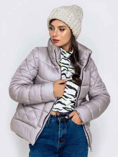 Стёганая куртка с накладными карманами серая 40719, фото 1