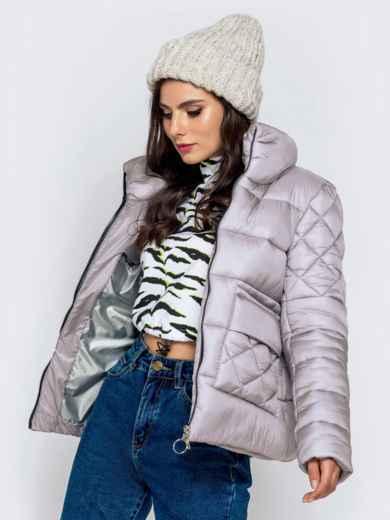 Стёганая куртка с накладными карманами серая 40719, фото 2
