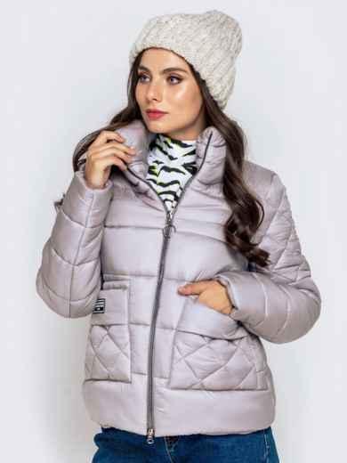Стёганая куртка с накладными карманами серая 40719, фото 6