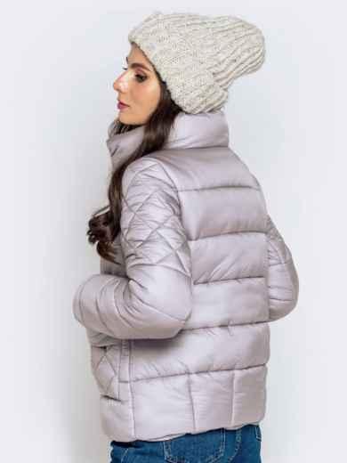 Стёганая куртка с накладными карманами серая 40719, фото 7