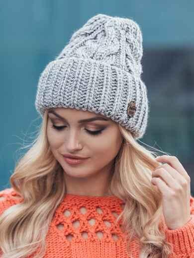 Светло-серая шапка-колпак объемной вязки 14971, фото 1