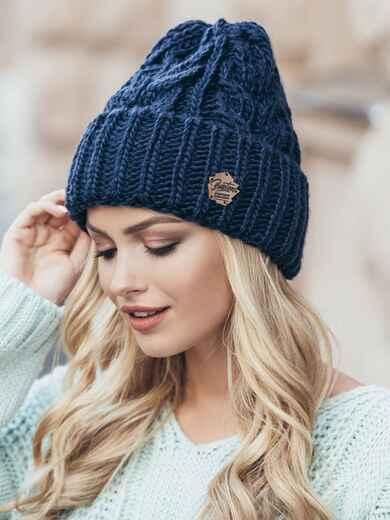 Темно-синяя шапка-колпак объемной вязки 14967, фото 1